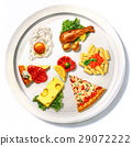 Large dish viewed from top, with a composition mix of different kind of food. 29072222