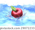 Red apple with leaf, splashing into water. bird eye view. 29072233