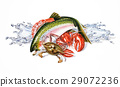 Group composition of different seafood and fish, with water splashes. Airbrush illustration. 29072236