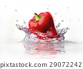 Red sweet bell pepper falling and splashing into clear water. 29072242
