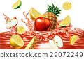 Fruits falling into a reddish liquid juice splashing. 29072249