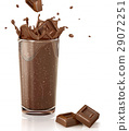 Chocolate cubes splashing into a choco milkshake glass. With two pieces on floor. 29072251