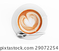 Cappuccino mug close up, with a heart decorated on top of foam. Top view. 29072254