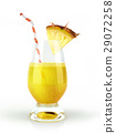 Pineapple drink glass, with a fruit chunk and straw. 29072258