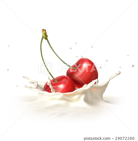Two red cherries falling into milk splashing. 29072260