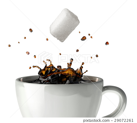 Sugar cube falling and splashing into a cup of black coffee. Close up view. 29072261
