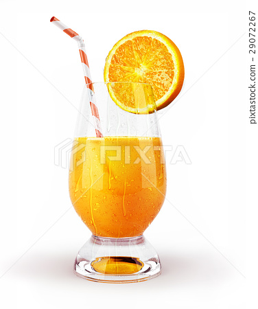 Orange juice in a glass with straw and slice. 29072267