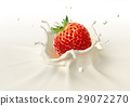 Strawberry falling into milk splashing. 29072270