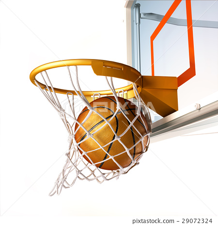 Basket ball centering the basket, close up view. 29072324