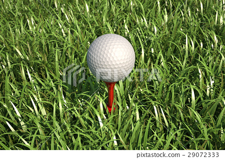 Golf ball isolated on tee in the grass. 29072333
