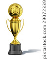 Trophy cup, with a soccer ball at the top. All in gold, with black basement. 29072339