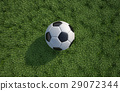 Soccer/football ball close up on grass lawn. Top view. 29072344
