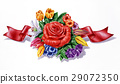 Flowers, different species and multicolor composition, with red ribbon, on white background. 29072350