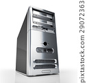 PC tower desktop. Silver on white background. 29072363