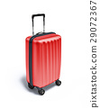 Red Travel suitcase on wheels, on white background. 29072367