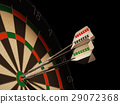 Dartboard with three darts in center target. 29072368