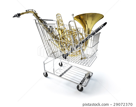 Supermarket trolley, full of wind musical instruments. 29072370
