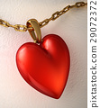 Red shiny heart pendant, with gold chain, on a white paper. 29072372