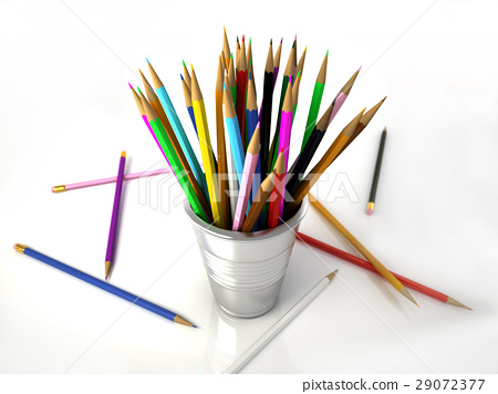 Several Multicolored pencils into a metallic jar, with some on the white floor. 29072377