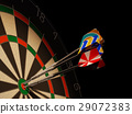 Dartboard with three darts in center target. 29072383