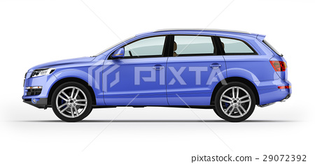 Blue automobile, luxury SUV. Isolated on white. 29072392