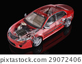 Generic sedan car detailed cutaway representation, with ghost effect, on black backgound. 29072406