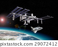 Space station in orbit around Earth, with Shuttle. 29072412