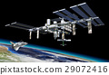 Space station in orbit around Earth, with Shuttle. 29072416