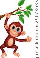 Cute monkey cartoon hanging 29073635