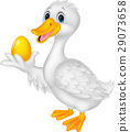 Cute duck holding golden egg 29073658
