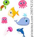 Sea life cartoon set 29074215