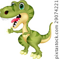 Cute tyrannosaurus cartoon waving hand 29074221