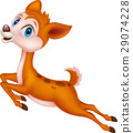 Cute baby deer cartoon jumping 29074228