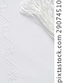 Texture of linen fabric with white silk embroidery 29074510