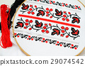 Slavic red and black embroidery by cross-stitch. 29074542