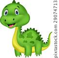 Cute green dinosaur cartoon 29074713