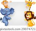 Wild animal holding blank sign 29074721