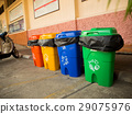 Three colorful recycle bins isolated 29075976