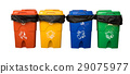 Three colorful recycle bins with the clipping path 29075977