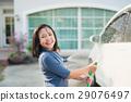 Asian children washing car 29076497