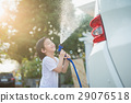 Asian children washing car 29076518