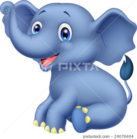 Cute cartoon elephant sitting 29076604