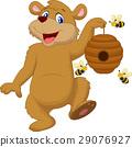 Cartoon bear holding bee 29076927