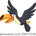 Cute cartoon toucan bird flying 29077248
