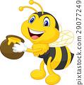 Bee cartoon holding honey bucket 29077249