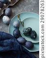 easter eggs with blue cloth 29078263