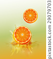 Slice orange drop on juice splash and ripple 29079703