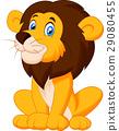 Cute lion cartoon sitting 29080455