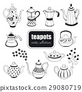 hand drawn teapots collection 29080719