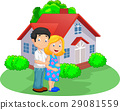 Young couple in front of their house 29081559